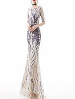cheap -Mermaid / Trumpet Jewel Neck Floor Length Polyester Glittering / Gold Engagement / Formal Evening Dress with Appliques / Sash / Ribbon 2020