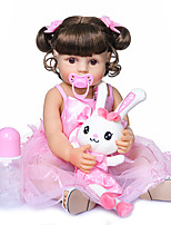 cheap -22 inch Reborn Doll Baby Baby Girl lifelike Gift Artificial Implantation Brown Eyes Full Body Silicone Silicone Silica Gel with Clothes and Accessories for Girls' Birthday and Festival Gifts