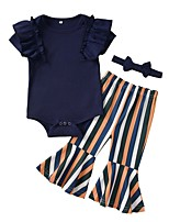 cheap -Baby Girls' Street chic Striped Short Sleeve Regular Clothing Set Navy Blue