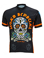 cheap -21Grams Men's Short Sleeve Cycling Jersey 100% Polyester Black / Orange Skull Floral Botanical Bike Jersey Top Mountain Bike MTB Road Bike Cycling UV Resistant Breathable Quick Dry Sports Clothing