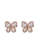 cheap -Women's Cubic Zirconia Stud Earrings Classic Butterfly Fashion Cute Earrings Jewelry Rose Gold / Gold / Silver For Daily Festival 1 Pair