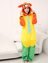 cheap -Adults' Kigurumi Pajamas Anime Fox Onesie Pajamas Flannel Yellow / Red / Orange Cosplay For Men and Women Animal Sleepwear Cartoon Festival / Holiday Costumes