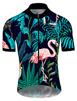 cheap -21Grams Men's Short Sleeve Cycling Jersey 100% Polyester Pink+Green Flamingo Floral Botanical Bike Jersey Top Mountain Bike MTB Road Bike Cycling UV Resistant Breathable Quick Dry Sports Clothing
