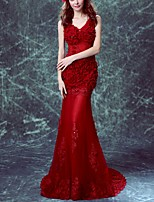 cheap -Mermaid / Trumpet V Neck Sweep / Brush Train Polyester Floral / Red Engagement / Formal Evening Dress with Appliques 2020