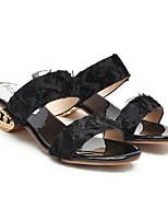 cheap -Women's Sandals Block Heel Round Toe PU Summer Black / Almond / White
