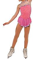cheap -Figure Skating Dress Women's Girls' Ice Skating Dress Pink Patchwork Spandex High Elasticity Training Competition Skating Wear Patchwork Crystal / Rhinestone Sleeveless Ice Skating Figure Skating