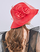 cheap -Vintage Style Fashion Tulle / Organza / Straw Hats / Headwear with Bowknot / Flower / Trim 1 Piece Wedding / Outdoor Headpiece