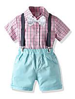 cheap -Kids Toddler Boys' Basic Birthday Party Party & Evening Plaid Short Sleeve Regular Regular Clothing Set Blushing Pink