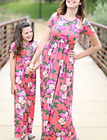 cheap -Mommy and Me Floral Dress Wine