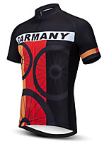 cheap -21Grams Men's Short Sleeve Cycling Jersey 100% Polyester Black Black / Red Bule / Black Stripes American / USA UK Bike Jersey Top Mountain Bike MTB Road Bike Cycling UV Resistant Breathable Quick Dry