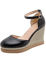 cheap -Women's Sandals Wedge Heel Round Toe PU Classic / Minimalism Fall / Spring & Summer Black / White / Pink