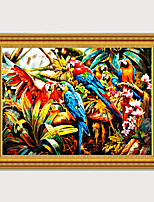 cheap -Framed Art  Cartoon Printed Pictures Canvas Oil Painting Group of parrots For Kids Room Wall Art Decor