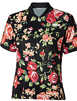 cheap -21Grams Women's Short Sleeve Cycling Jersey 100% Polyester Black / Red Floral Botanical Bike Jersey Top Mountain Bike MTB Road Bike Cycling UV Resistant Breathable Quick Dry Sports Clothing Apparel