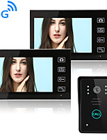 cheap -Wireless 2.4GHz 7 inch Hands-free 800*480 Pixel One to Two video doorphone