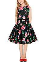 cheap -Kids Girls' Vintage Cute Floral Color Block Patchwork Print Sleeveless Above Knee Dress Black