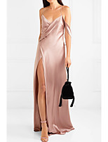 cheap -Sheath / Column V Neck Floor Length Polyester Sexy / Pink Party Wear / Formal Evening Dress with Split 2020