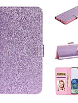 cheap -Case For Samsung Galaxy Galaxy A20e / Galaxy Note 10 / Galaxy Note 10 Plus Wallet / Card Holder / with Stand Full Body Cases Solid Colored / Glitter Shine PU Leather