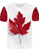 cheap -Kids Boys' Basic Street chic Tropical Leaf Geometric Color Block 3D Print Short Sleeve Tee White