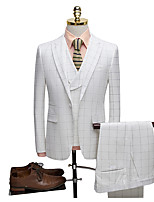 cheap -Tuxedos Tailored Fit Notch / Peak Single Breasted One-button Polyester Checkered / Gingham