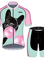 Недорогие -21Grams Муж. С короткими рукавами Велокофты и велошорты Розовый + зеленый С собакой Животное Воздушные шары Велоспорт Наборы одежды Устойчивость к УФ Дышащий 3D / Эластичная / Быстровысыхающий
