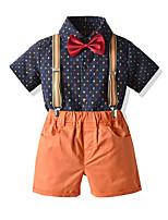 Недорогие -Дети Мальчики Классический День рождения Для вечеринки / ужина Однотонный С короткими рукавами Обычный Обычная Набор одежды Оранжевый