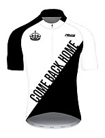 cheap -21Grams Men's Short Sleeve Cycling Jersey 100% Polyester Black / White Bike Jersey Top Mountain Bike MTB Road Bike Cycling UV Resistant Breathable Quick Dry Sports Clothing Apparel / Stretchy