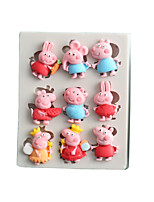 cheap -Cartoon lamb pig fondant cake chocolate mold silicone mold baking mold