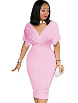 cheap -Women's Wine Blushing Pink Dress A Line Solid Color V Neck S M