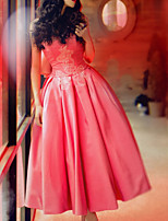 cheap -Ball Gown Sweetheart Neckline Ankle Length Polyester Elegant / Pink Engagement / Prom Dress with Bow(s) / Pleats 2020