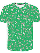 cheap -Kids Boys' Basic Street chic Color Block 3D Solid Colored Print Short Sleeve Tee Green