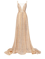cheap -A-Line Sexy Sparkle Engagement Formal Evening Dress Illusion Neck Sleeveless Court Train Tulle with Sash / Ribbon Pleats 2020