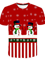 cheap -Kids Boys' Basic Street chic Snowman Color Block 3D Christmas Print Short Sleeve Tee Red