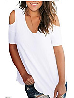 cheap -Women's Daily T-shirt - Solid Colored Wine
