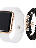 Недорогие -Муж. электронные часы Кварцевый силиконовый Черный / Белый Секундомер Новый дизайн Светодиодная лампа Цифровой На открытом воздухе Мода - Черный + Gloden Белый Черный Один год Срок службы батареи