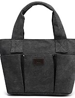 cheap -Women's Zipper Canvas Top Handle Bag Solid Color Black / Brown / Light Purple
