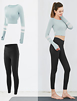 cheap -Women's 2pcs Tracksuit Yoga Suit Winter Patchwork Dark Pink Light Green Pink Mesh Yoga Running Fitness Leggings Crop Top Long Sleeve Sport Activewear Breathable Moisture Wicking Butt Lift Tummy