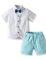 cheap -Kids Boys' Basic Birthday Party Party & Evening Striped Short Sleeve Regular Regular Clothing Set White