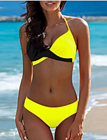 cheap -Women's Black Fuchsia Yellow Tankini Swimwear Swimsuit - Color Block S M L Black