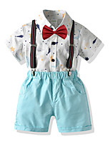 cheap -Kids Toddler Boys' Basic Birthday Party Party & Evening Galaxy Print Short Sleeve Regular Regular Clothing Set Light Blue