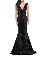 cheap -Mermaid / Trumpet V Neck Floor Length Polyester Blue / Black Prom / Formal Evening Dress with Sequin 2020