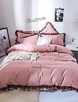 cheap -Goddess Small Money Lace Decorative Matte Quilt Cover Embroidery Four Piece Bedding Sheet Lotus Root Color