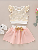 cheap -Baby Girls' Basic Color Block Short Sleeve Regular Clothing Set Blushing Pink