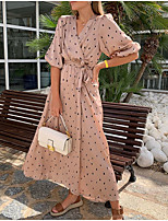 cheap -Women's Maxi Blushing Pink Dress Sheath Polka Dot V Neck S M