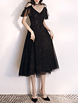 cheap -A-Line V Neck Tea Length Tulle Sparkle / Black Party Wear / Cocktail Party Dress with Sequin 2020