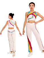 cheap -Rhythmic Gymnastics Leotards Artistic Gymnastics Leotards Women's Girls' Kids Pants / Trousers Spandex High Elasticity Handmade Sleeveless Competition Dance Rhythmic Gymnastics Gymnastics White