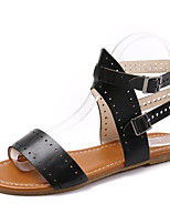 cheap -Women's Sandals Flat Heel Open Toe PU Summer Black / White