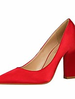 cheap -Women's Heels Chunky Heel Closed Toe Satin Casual / Minimalism Spring / Summer Black / Wine / Champagne