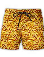 Недорогие -Муж. Купальные шорты Обтягивающие длинные шорты Нижняя часть Дышащий Быстровысыхающий Плавание Пляж  Водные виды спорта 3D-печати Лето / Слабоэластичная