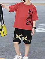 Недорогие -Дети Мальчики Классический на открытом воздухе Черное и белое С принтом Мультипликация С принтом С короткими рукавами Обычный Обычная Набор одежды Красный