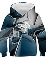 cheap -Kids Boys' Basic Street chic Color Block 3D Print Long Sleeve Hoodie & Sweatshirt Blue